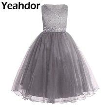 Enfants enfants Pageant robes de soirée paillettes dentelle maille fleur fille robes sans manches robes de bal de mariage fête danniversaire robe