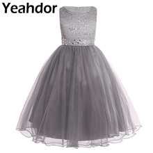 Kids Children Pageant Evening Gowns Sequined Lace Mesh Flower Girl Dresses Sleeveless Ball Gowns Wedding Party Birthday Dress