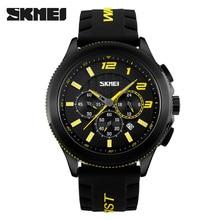 SKMEI Men's Quartz Watch Silicone Strap Chronograph Men's Fashion Watch Top brand relogio masculino esportivo