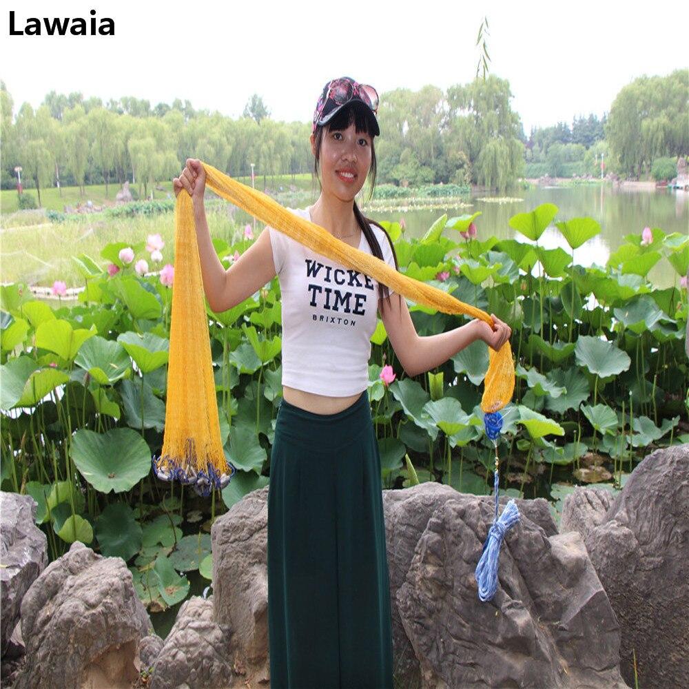 Lawaia чистый желтый нейлон Рыболовные сети с Свинцовые грузила бросать рукой нейлоновая сетка Рыболовные сети работы литья США сети Открытый...