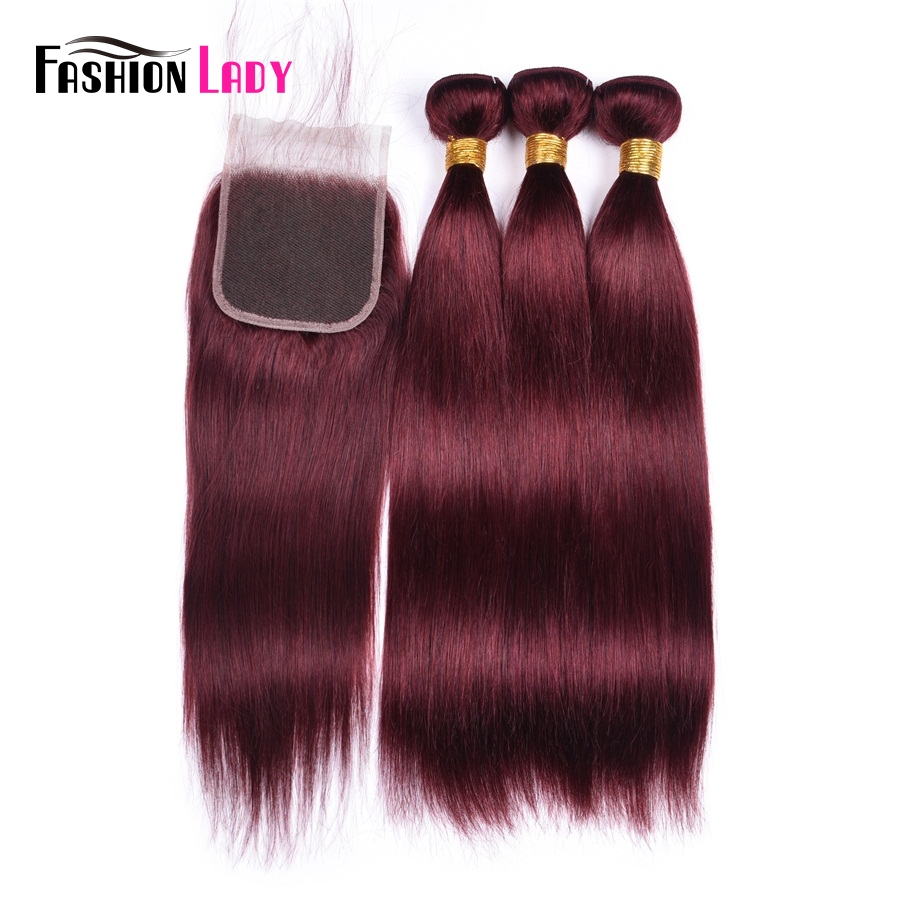 Fashion Lady Pre Colored 3 Bundles With Closure Red 99j Mahogany