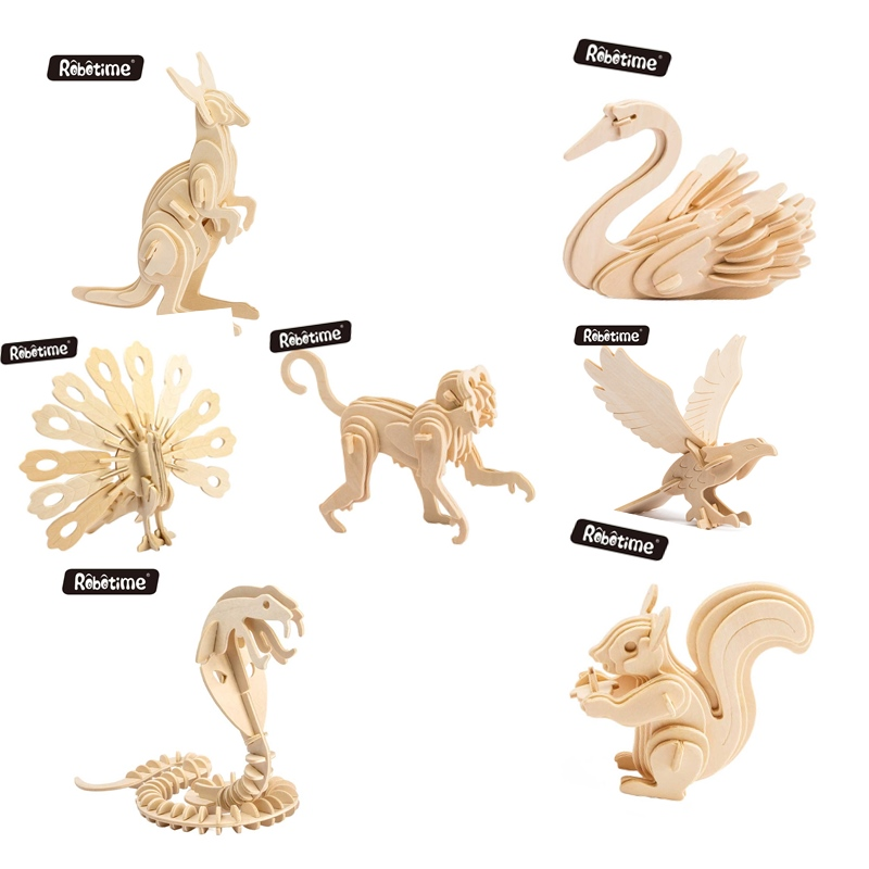Robotime Toys Hobbies 3D Wooden Puzzle Games Popular Children Educational Baby & Toddler Toys Model Building Kits Wild Animals mr froger carcharodon megalodon model giant tooth shark sphyrna aquatic creatures wild animals zoo modeling plastic sea lift toy