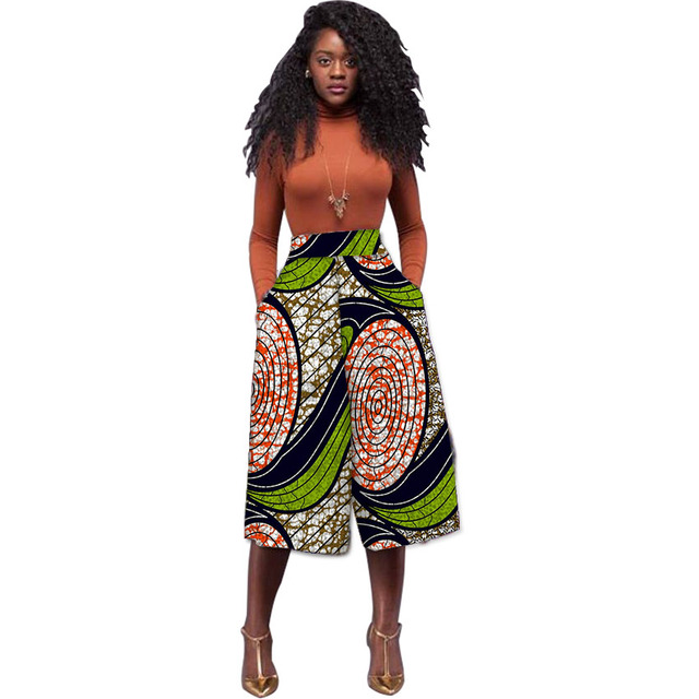 cab264622c Women African Print Wide Leg Pants Fashion Dashiki Design Cropped Pant  Ladies Loose Ankara Trouser Customize Africa Clothing