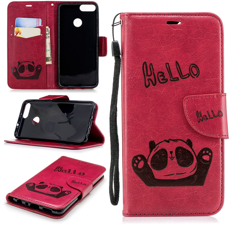 For Huawei P Smart Case Cute Hello Panda Embossed Leather Flip Case For Huawei Enjoy 7S Fundas Psmart Stand Wallet Phone Cases