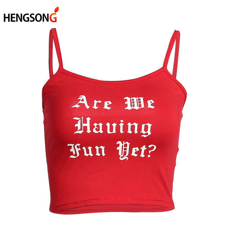 2018 New Summer Sexy Tank Tops Women Ladies Hot Crop Tops Red Solid Letters Printed Sleeveless Camisole Tops Women's Vest