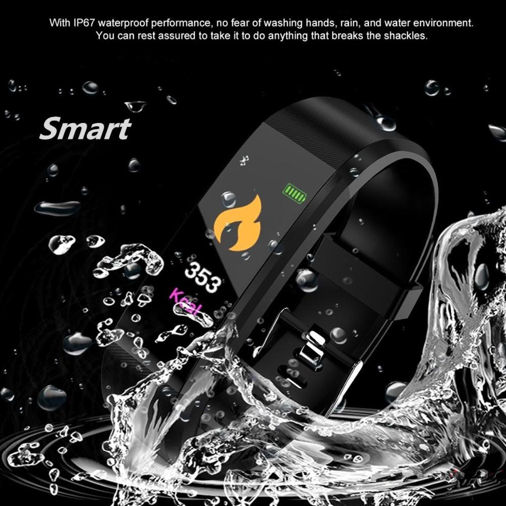 Nuevo 115 PLU impermeable deportes reloj inteligente de las mujeres de los hombres de Fitness Tracker inteligente pulseras para Android IOS brazaletes inteligentes