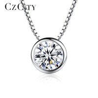 CZCITY JEWELRY Beautiful The Eyes Of The Day 925 Silver Necklaces Charm Jewellry Cubic Zirconia Sterling