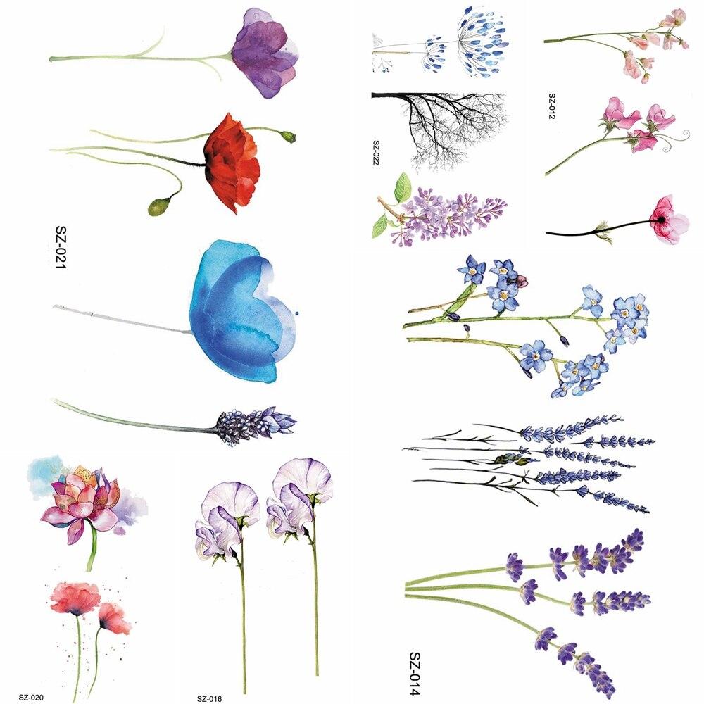 YURAN Flash Lovely Lavender Flower Tattoo Stickers Kids Arm Lotus Cartoon Temporary Tattoo Children Art Fake Tatoos Women Xmas