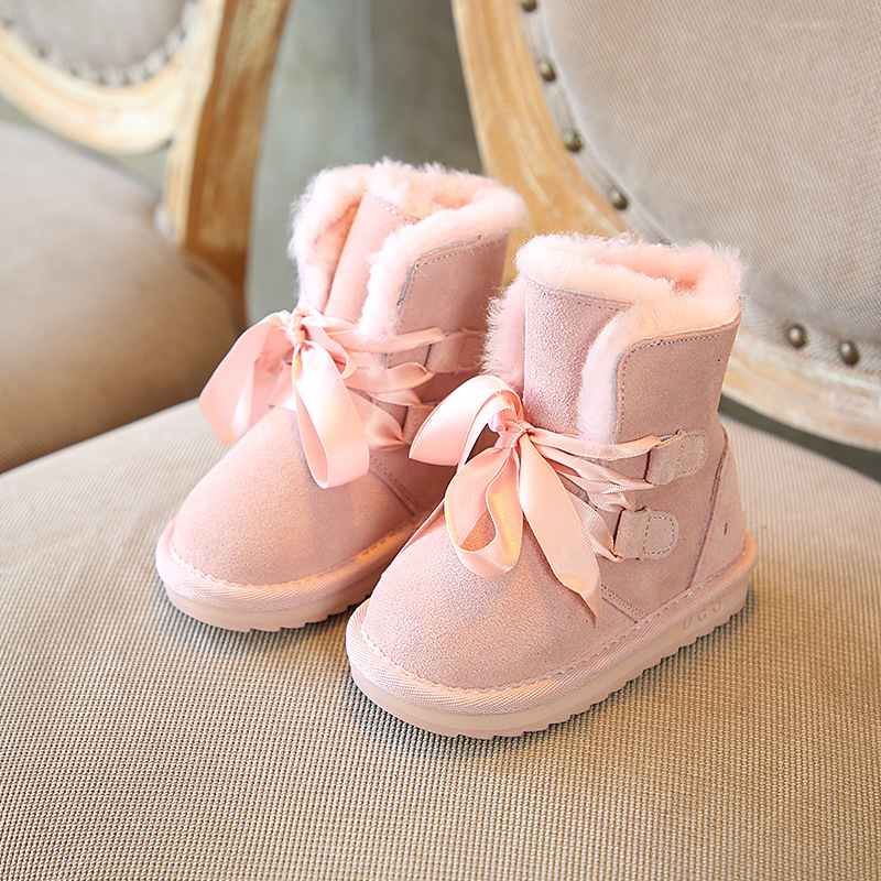 Winter Baby Girls Shoes Kids New Fashion Genuine Leather Snow Boots Warm Wool Thick Sole Shoes Children Riband Princess BootsWinter Baby Girls Shoes Kids New Fashion Genuine Leather Snow Boots Warm Wool Thick Sole Shoes Children Riband Princess Boots