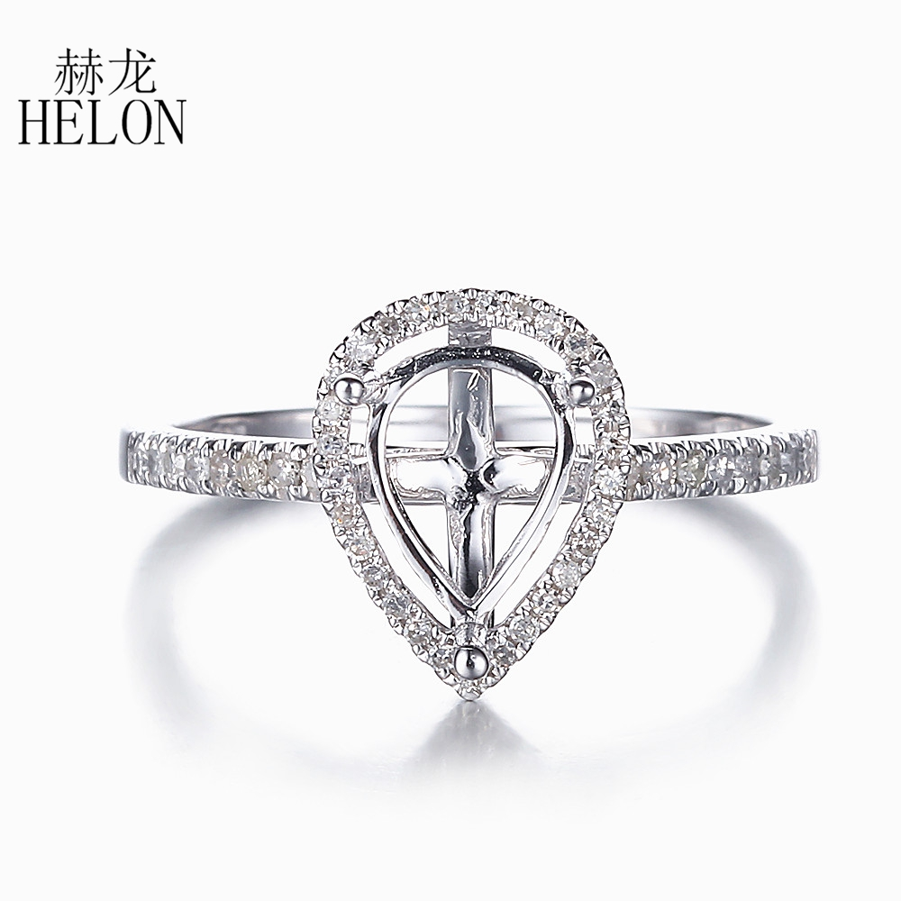 HELON Solid 14K (585) White Gold 8x6mm Pear Cut Semi Mount Pave Natural Diamonds Engagement Weddding Women Fine Jewelry Ring helon pear cut 11x8mm solid 10k white gold pave natural diamonds semi mount wedding engagement elegant women s jewelry fine ring