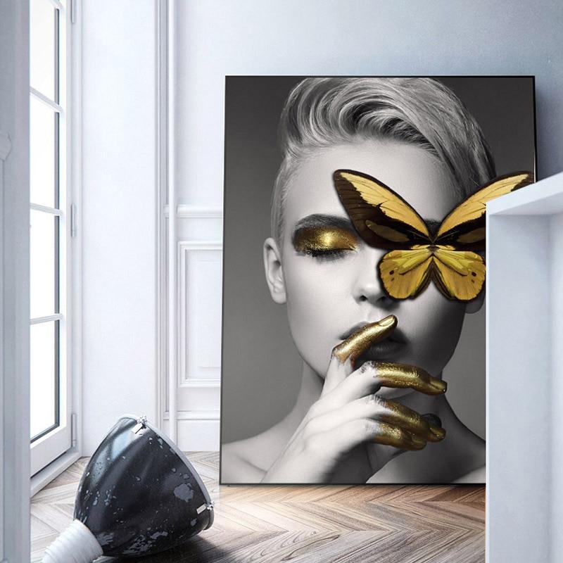 Modern Black White Sexy Charming Woman Lip Beauty Canvas -8438