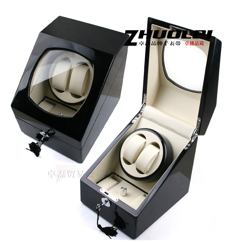 New Black luxury 2+2 rotary automatic rotating wooden watch winder display box high gloss paint watch winder цена и фото
