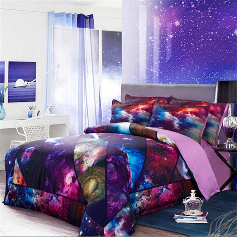 4pcs Purple Star Wars Galaxy Sky Bedding Set 3D Patchwork Quilt ...