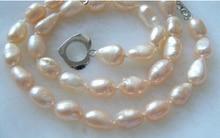 Eternal wedding Women Gift word 925 Sterling silver real natural big DYY+++817 baroque pink freshwater pearls ne