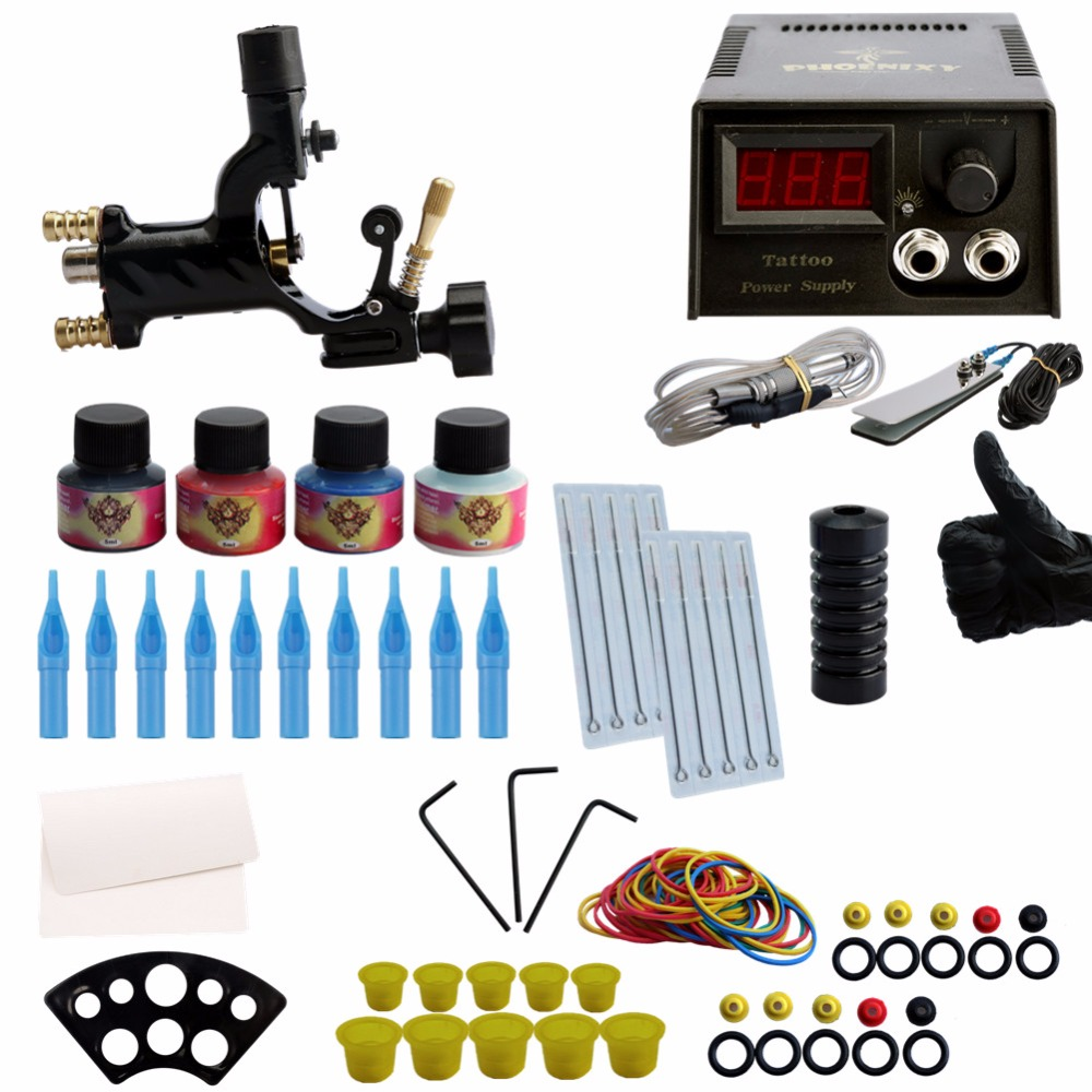 Complete Tattoo Kit 1 Professional Rotary Tattoo Machine Gun 4 Inks Needles Power Supply Tattoo Machine Kit Tattoo Kit solong tattoo complete tattoo kit set including tattoo machine gun inks power supply needles permanent makeup for liner