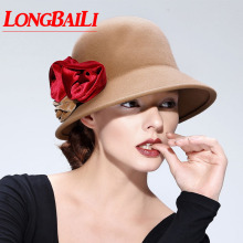 Quality Elegant Winter Floral Wool Felt Cloche Hats Women Chapeu Fedoras Bucket Female Free Shipping PWFE012