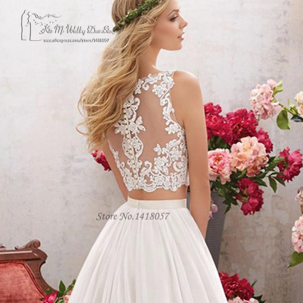 467c81bb2a W stylu Vintage 2 sztuka suknia ślubna koronki suknie ślubne Boho lato w  stylu rustykalnym czeski Bride suknie 2017 Vestidos de Noiva importowane z  chin