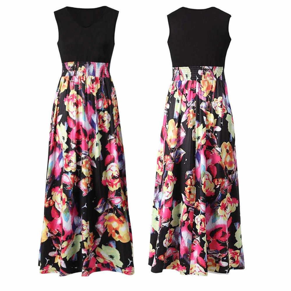 נשים של שמלת נשים הדפסת Boho פרחוני ארוך מקסי שמלה ללא שרוולים ערב מסיבת קיץ החוף הקיצי vestido navidad mujer W0619