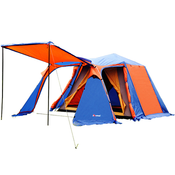 Fully automatic 1hall 2room double layer aluminum pole outdoor family camping tent suitable for 4-5persons 180cm height tent 240 240 180cm 2doors 2windows beach sunshade outdoor camping tent suitable for 3 4 5persons pergola awning