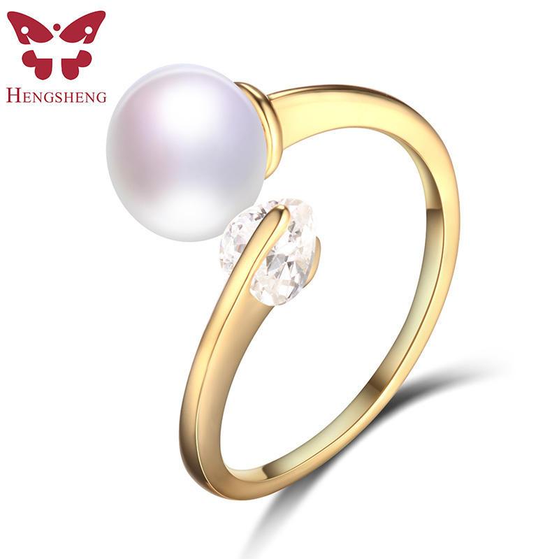 HENGSHENG Real Natural Pearl Gold Ring For Women,Fine Jewelry,Bread Round Pearl with Love Zircon Ring,Women Wedding Ring pearl beaded ring round neck tee