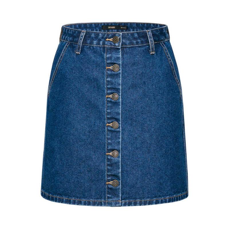 SEMIR damska jeansowa spódniczka z miękkiej bawełny z boczna kieszeń z przodu zapinana na guziki dżinsowa spódnica trapezowa podszyta sprane dżinsy elegancki styl