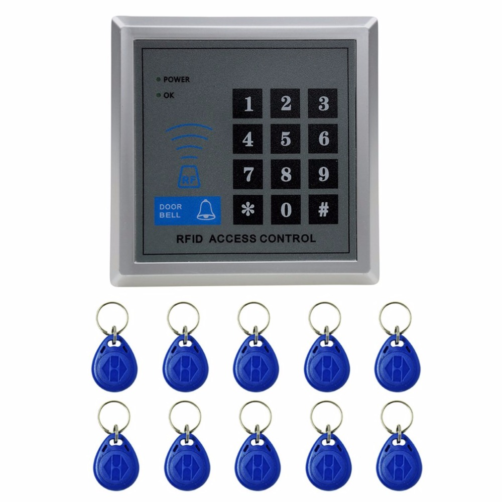 Door Lock Access Control 125KHz Single RFID Card Proximity Entry Door Lock Access Control System With 10pcs RFID Keys Key Fob metal rfid em card reader ip68 waterproof metal standalone door lock access control system with keypad 2000 card users capacity