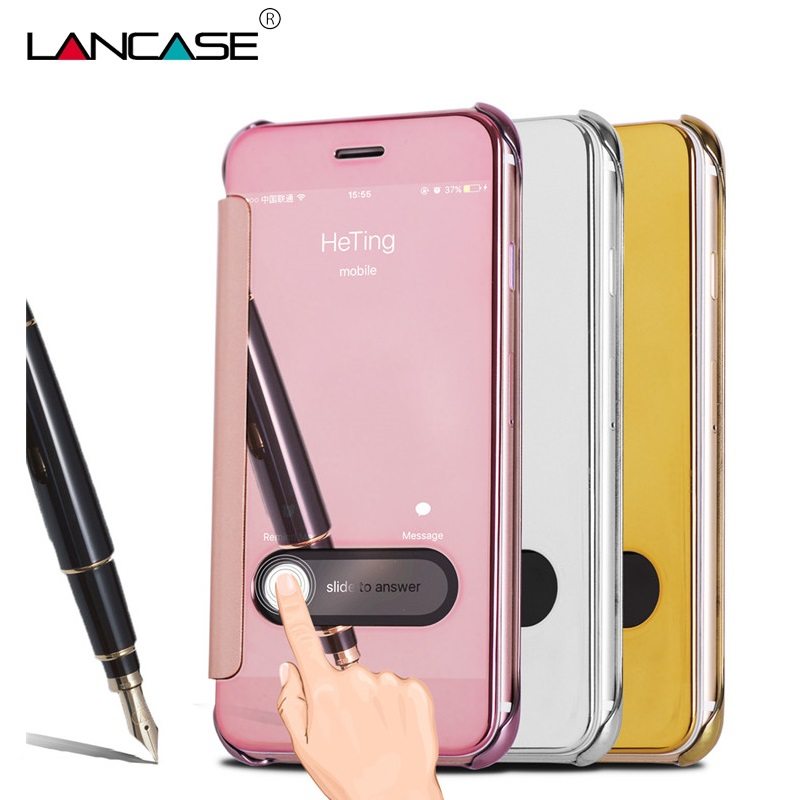 online store eb9b0 1f29c US $6.65 |For iPhone 6S Case Luxury View Window Mirror Leather Flip Wallet  Case For Coque iPhone 6S 5 5S SE 6S Plus 7 7 Plus Accessories on ...