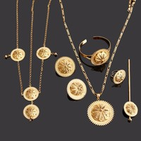Bangrui New Ethiopian Jewelry 24k Gold Plated Pendant Necklace Earring Ring Hairpin Chain Bangle Hairpin Set