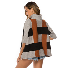 Autumn New Womens Turtleneck Sweater Sleeves Loose Striped Knit Fashion Plaid Pullover Casual Street