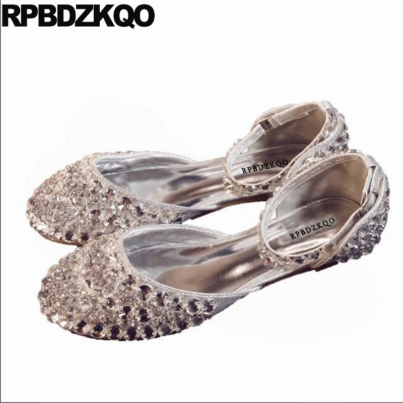 970fc205f2 US $46.78 36% OFF|Wedding Women Dress Shoes Round Toe Silver Crystal  Sandals Bling Sparkling Diamond Ankle Strap Rhinestone Lady Flats  Cinderella-in ...