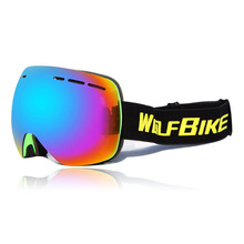 Motorcycle Goggles with Double Anti-fog Spherical Lens Windproof Motocross Ski Goggles+Snowboard Sunglasses Goggles