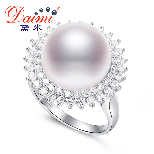 DAIMI Luxury Pearl Ring 925 Sterling Silver Ring 13-13.5mm Big Freshwater Pearl Ring 2017 New