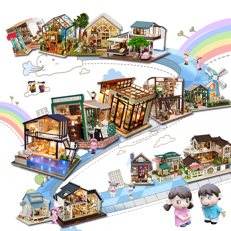Cutebee Doll House Furniture Miniature Dollhouse DIY Miniature House Room Box Theatre Toys For Children Stickers DIY Dollhouse A