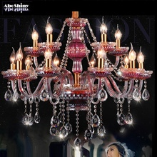 Crystal Chandelier Lights Purple red wine Lamp For Living Room Cristal Lustre Chandeliers Lighting Hanging Ceiling Fixtures