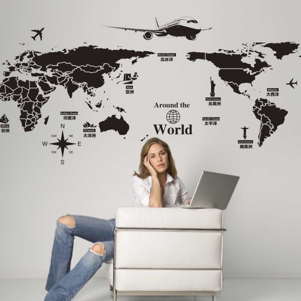 World map sticker for wall india - New Creative World Travel Map Wall Stickers Black Printed Sticker Bedroom Home Decor Poster Diy Removable