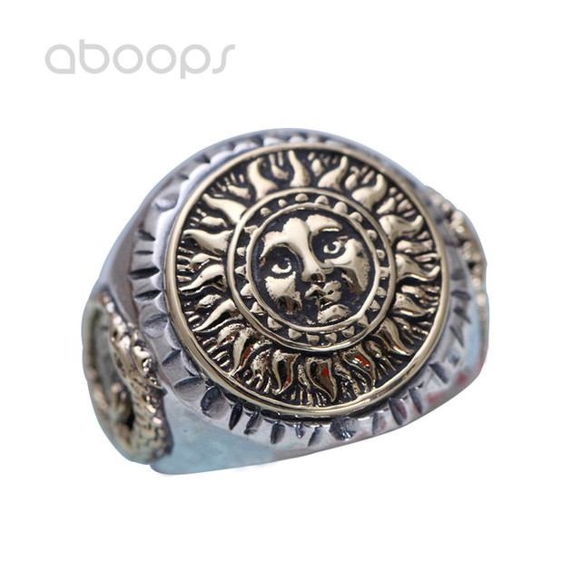 US $39 81 5% OFF|Vintage Two Tone 925 Sterling Silver Gold Sun Ring with  Compass Dinosaur for Men Adjustable Free Shipping-in Rings from Jewelry &