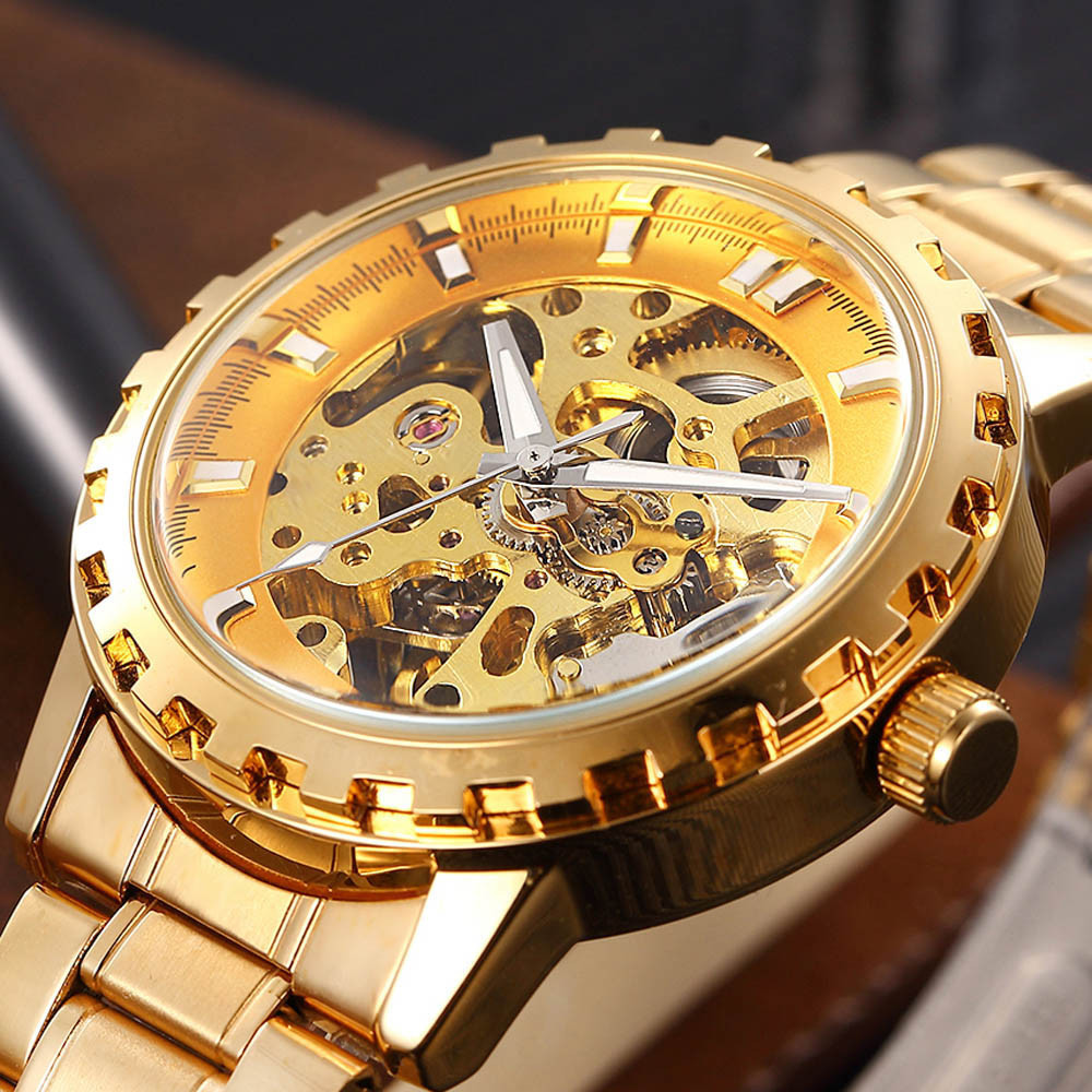 Top Brand Men Watches Automatic Skeleton Mechanical Watch Fashion Luxury 2018 Quality Full Stainless Steel Golden Business Clock men luxury automatic mechanical watch fashion calendar waterproof watches men top brand stainless steel wristwatches clock gift