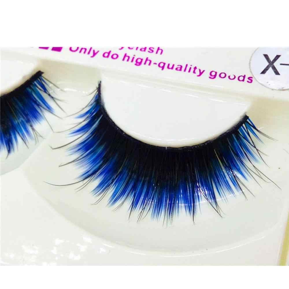 ac59e6aaefb ... New Arrival 1Pair Unique Design Fake Eyelashes Women Beauty Fashion Long  Blue Black False Eyelashes Beautiful