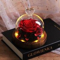 Beauty and Beast Rose Flower Led Glass Flower Birthday Decoration Girlfriend Gift Mother's Birthday Gift Christmas Gift