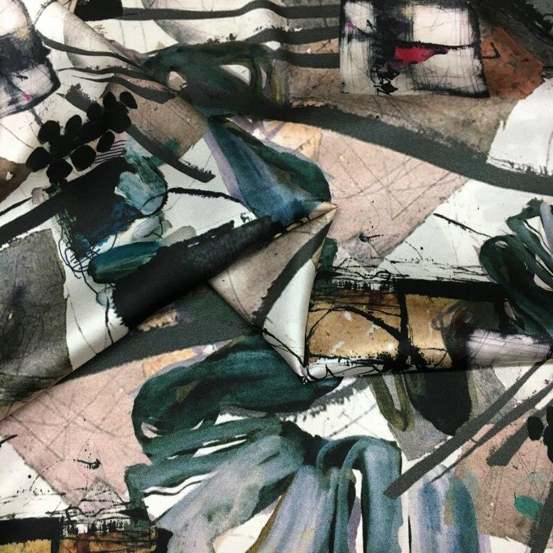 Ev ve Bahçe'ten Kumaş'de 19mm 108 cm geniş streç ipek spandex balmumu graffiti dijital silkwashed streç ipek saten kumaş elbise gömlek kumaş'da  Grup 2
