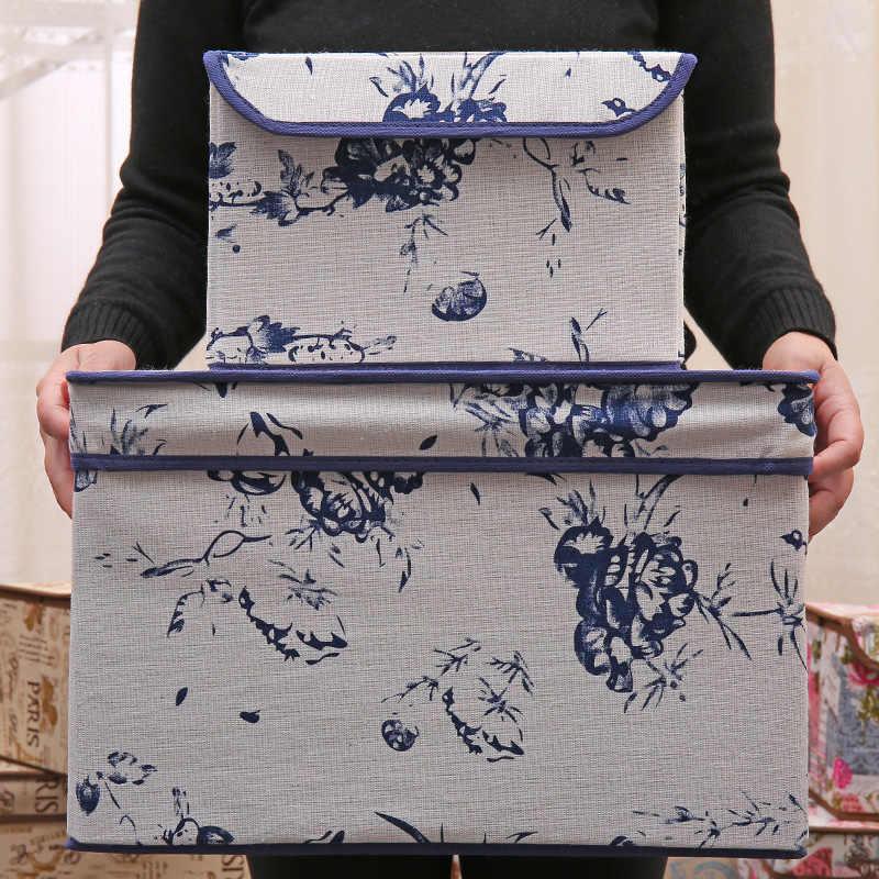 Cubos de Tecido de linho Cesta Dobrável caixa de armazenamento Caixas do Organizador Gavetas de Recipientes com Tampa-Para Escritório Nursery Quarto Prateleira