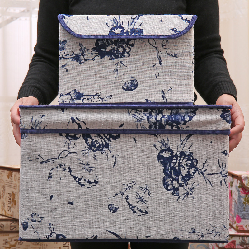 new retro linen folding storage box clothes organizer kid toys storage bin Household finishing box 2 size 25*20*17cm 38*25*25cm