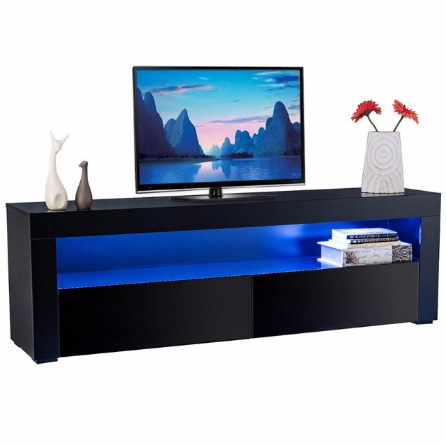 Giantex Led TV Stand Unit Cabinet Wood Console Table With LED Shelves And  Drawers Modern Living Room Furniture HW56643BK+