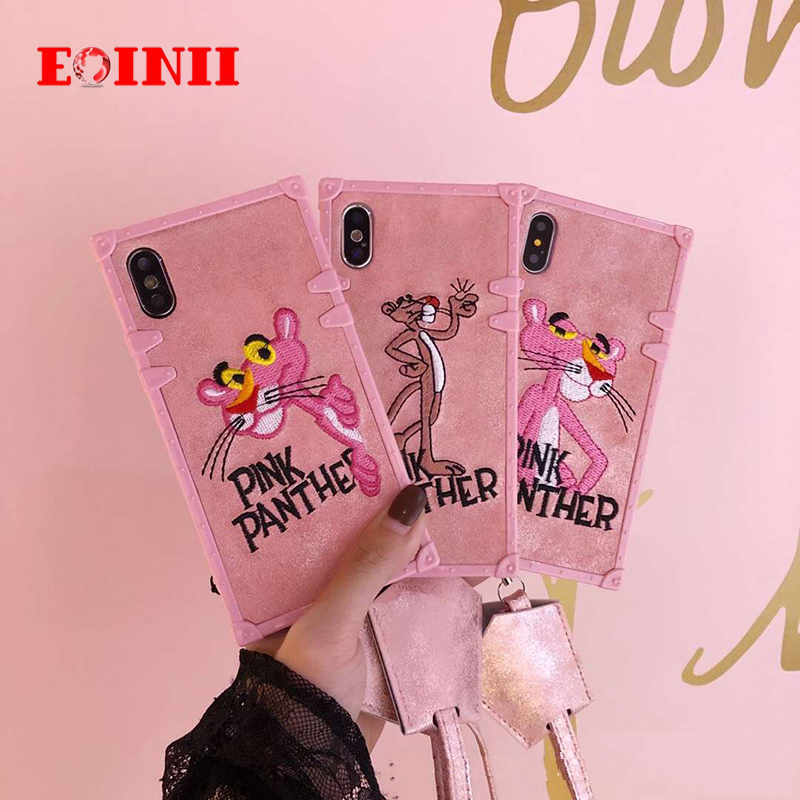 luxury brand Embroidery Square Flamingo Tiger head Case For iPhone 7 plus 6 8plus Cute Animal Cartoon Mobile Phone cover+lanyard