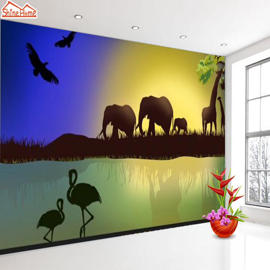 ShineHome-Modern Custom Elephant Skyline Photo Wallpaper 3d Stereoscopic Decorative Wall Paper Murals Boys Children Kids Room shinehome modern custom elephant skyline photo wallpaper 3d stereoscopic decorative wall paper murals boys children kids room