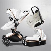 Роскошные кожаные Детские коляски 3 в 1 автомобиль сна корзина портативный стороны корзины новорожденных путешествия Системы Poussettes Китай