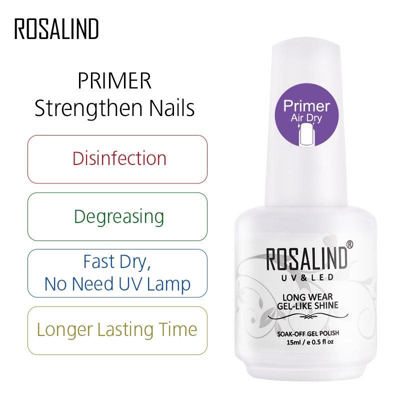Набор гель-лаков ROSALIND для маникюра, полуперманентный УФ-лак, основа для дизайна ногтей, Праймер, Гель-лак, верхнее покрытие