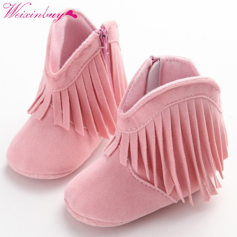 Newborn Baby Girls Boots Solid Fringe Shoes Infant Soft Soled Anti-slip Footwear Booties все цены