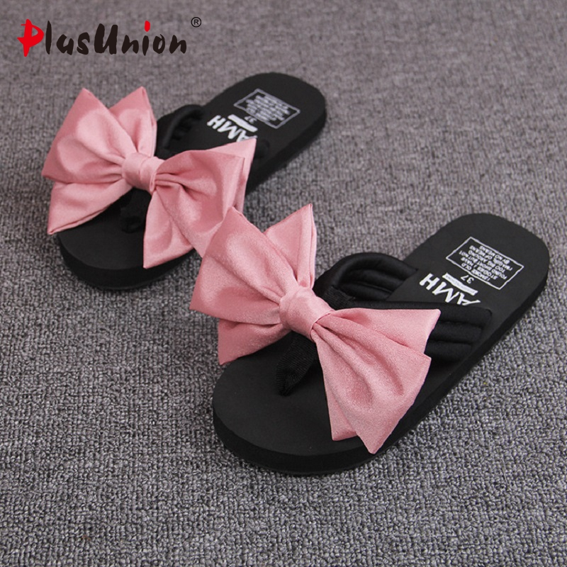 High Quality New Women Pantufa  Outdoor Beach Slipper Flip Flops For Woman Bowtie 5 Color Ladies Leisure NonSlip Shoes  Slides 2016 soild women flip flops for summer outside slipper with cheap price and high quality for surprise gift xf 090