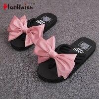 High Quality New Women Pantufa  Outdoor Beach Slipper Flip Flops For Woman Bowtie 5 Color Ladies Leisure NonSlip Shoes  Slides